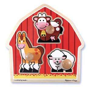 Barn Animals (Wooden Knob Puzzle) (MND2054), a 3 piece jigsaw puzzle by Melissa and Doug. Click to view larger image.