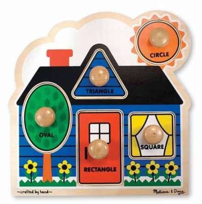 First Shapes Cottage (Wooden Knob Puzzle) (MND2053), a 5 piece jigsaw puzzle by Melissa and Doug. Click to view larger image.