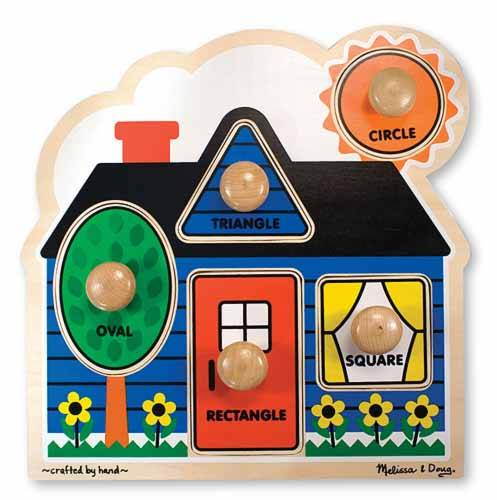 First Shapes Cottage (Wooden Knob Puzzle) (MND2053), a 5 piece jigsaw puzzle by Melissa and Doug.
