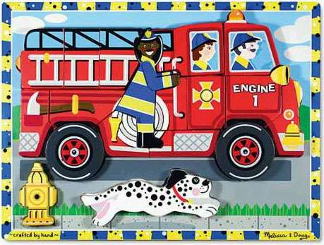 Fire Truck ('Chunky' Wooden Puzzle) (MND3721), a 18 piece jigsaw puzzle by Melissa and Doug. Click to view larger image.