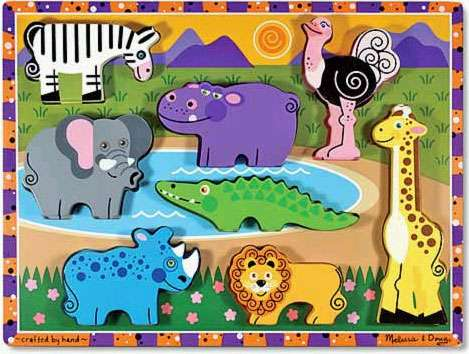 Safari Animals ('Chunky' Wooden Puzzle) (MND3722), a 8 piece jigsaw puzzle by Melissa and Doug. Click to view larger image.
