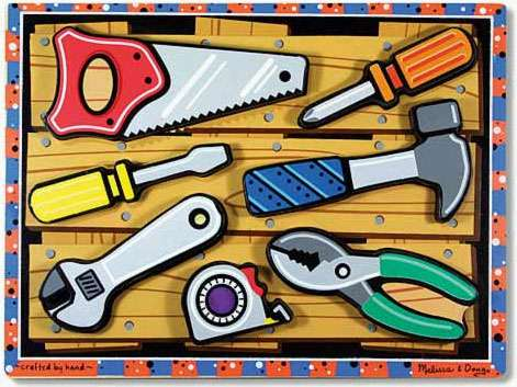 Tools ('Chunky' Wooden Puzzle) (MND3731), a 7 piece jigsaw puzzle by Melissa and Doug. Click to view larger image.
