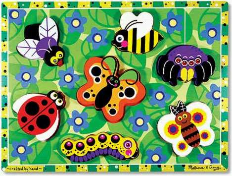 Insects ('Chunky' Wooden Puzzle) (MND3729), a 8 piece jigsaw puzzle by Melissa and Doug. Click to view larger image.