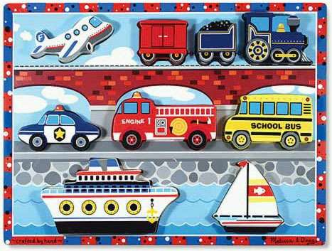 Vehicles ('Chunky' Wooden Puzzle) (MND3725), a 7 piece jigsaw puzzle by Melissa and Doug. Click to view larger image.