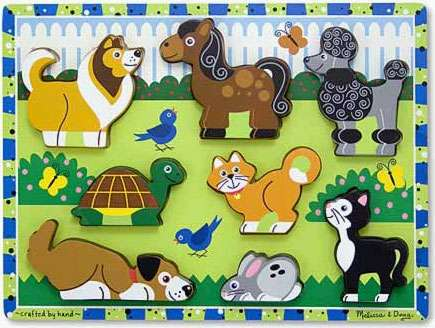 Pets ('Chunky' Wooden Puzzle) (MND3724), a 7 piece jigsaw puzzle by Melissa and Doug. Click to view larger image.