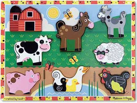 Farm ('Chunky' Wooden Puzzle) (MND3723), a 8 piece jigsaw puzzle by Melissa and Doug. Click to view larger image.
