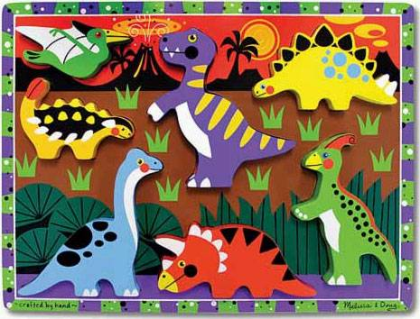 Dinosaurs ('Chunky' Wooden Puzzle) (MND3747), a 7 piece jigsaw puzzle by Melissa and Doug.