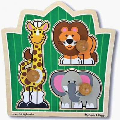 Jungle Friends (Wooden Knob Puzzle) (MND3375), a 3 piece jigsaw puzzle by Melissa and Doug. Click to view larger image.