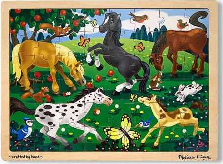 Frolicking Horses (Wooden Puzzle) (MND3801), a 48 piece jigsaw puzzle by Melissa and Doug. Click to view larger image.