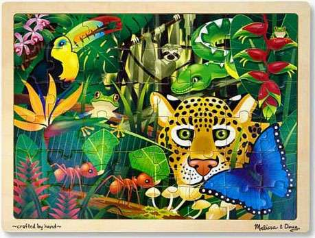 Rainforest (Wooden Puzzle) (MND3803), a 48 piece jigsaw puzzle by Melissa and Doug. Click to view larger image.