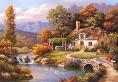 Cottage Stream (8000pc) (EDU14454), a 8000 piece jigsaw puzzle by Educa. Click to view larger image.