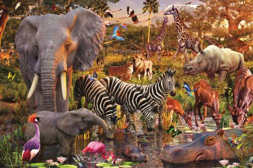 African Animal World (RB17037-1), a 3000 piece jigsaw puzzle by Ravensburger. Click to view larger image.