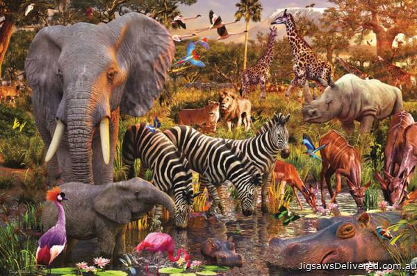 African Animal World (RB17037-1), a 3000 piece jigsaw puzzle by Ravensburger.