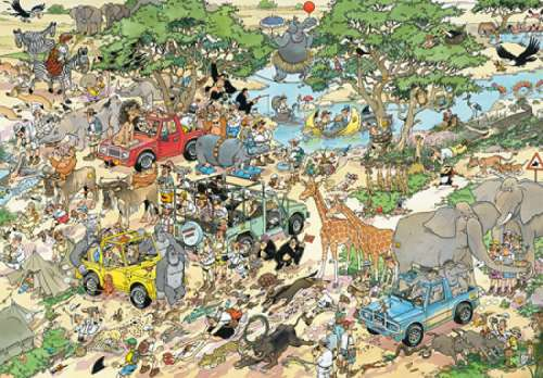 Safari (1500pc) (JUM17016), a 1500 piece jigsaw puzzle by Jumbo. Click to view larger image.