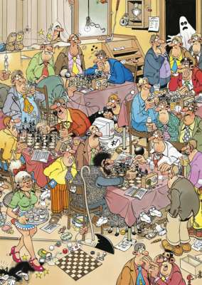 The Chess Club (JUM17278), a 500 piece jigsaw puzzle by Jumbo. Click to view larger image.
