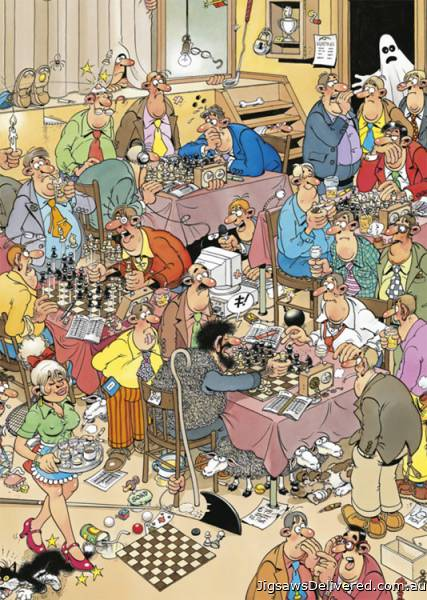 The Chess Club (JUM17278), a 500 piece jigsaw puzzle by Jumbo.