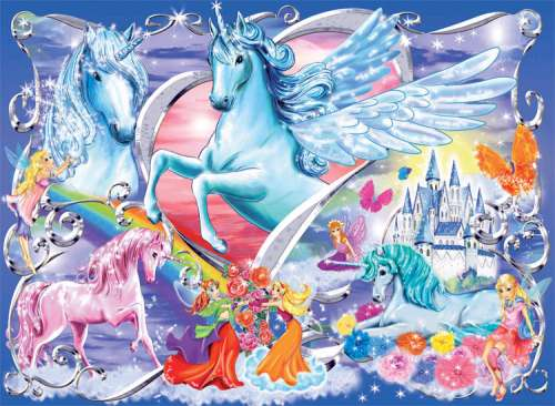 Amazing Unicorns (Foil Glitter) (RB13928-6), a 100 piece jigsaw puzzle by Ravensburger. Click to view larger image.