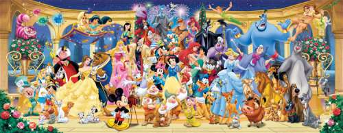 Disney Characters (Panorama) (RB15109-7), a 1000 piece jigsaw puzzle by Ravensburger. Click to view larger image.