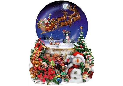 Santa's Snowy Ride (Shaped Puzzle) (SUN95302), a 1000 piece jigsaw puzzle by Sunsout. Click to view larger image.