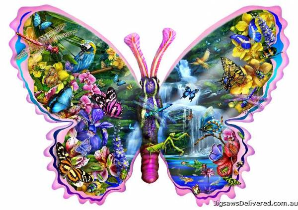 Butterfly Waterfall (Shaped Puzzle) (SUN95234), a 1000 piece jigsaw puzzle by Sunsout.