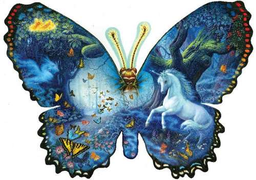 Fantasy Butterfly (Shaped Puzzle) (SUN95330), a 1000 piece jigsaw puzzle by Sunsout. Click to view larger image.