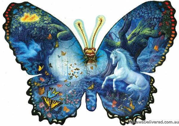 Fantasy Butterfly (Shaped Puzzle) (SUN95330), a 1000 piece jigsaw puzzle by Sunsout.