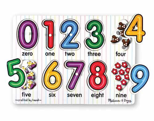 Numbers See-Inside (Wooden Peg Puzzle) (MND3273), a 10 piece jigsaw puzzle by Melissa and Doug.