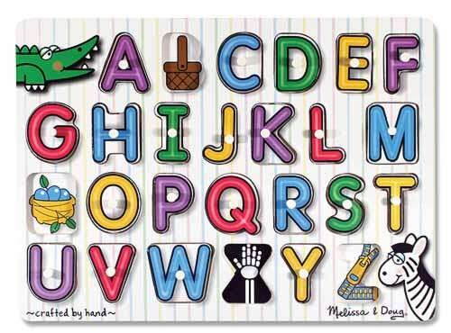 Alphabet See-Inside (Wooden Peg Puzzle) (MND3272), a 26 piece jigsaw puzzle by Melissa and Doug. Click to view larger image.