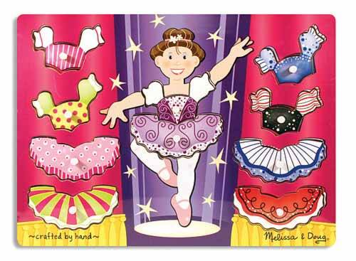 Ballerina Dress-Up Mix 'n Match (Wooden Peg Puzzle) (MND3292), a 9 piece jigsaw puzzle by Melissa and Doug.