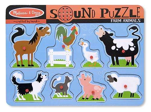 Farm Animals (Wooden Sound Puzzle) (MND726), a 8 piece jigsaw puzzle by Melissa and Doug. Click to view larger image.