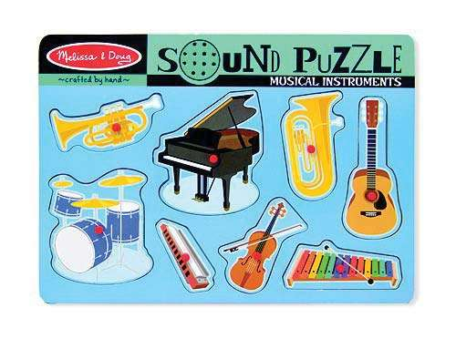 Musical Instruments (Wooden Sound Puzzle) (MND732), a 8 piece jigsaw puzzle by Melissa and Doug. Click to view larger image.