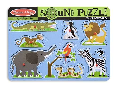 Zoo Animals (Wooden Sound Puzzle) (MND727), a 8 piece jigsaw puzzle by Melissa and Doug. Click to view larger image.