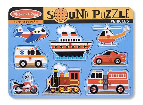 Vehicles (Wooden Sound Puzzle) (MND725), a 8 piece jigsaw puzzle by Melissa and Doug. Click to view larger image.