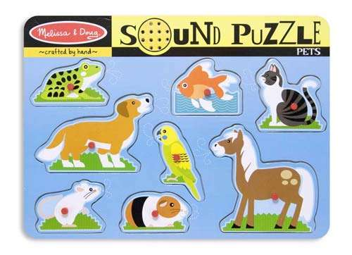 Pets (Wooden Sound Puzzle) (MND730), a 8 piece jigsaw puzzle by Melissa and Doug. Click to view larger image.