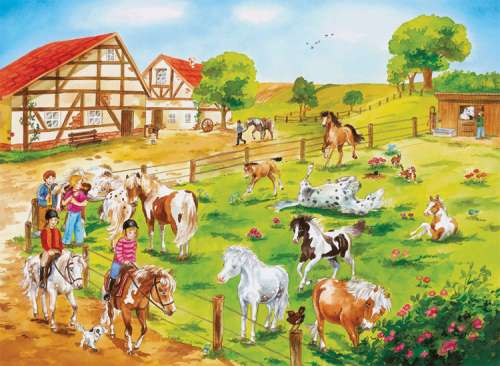 Pony Farm (RB10820-6), a 100 piece jigsaw puzzle by Ravensburger. Click to view larger image.