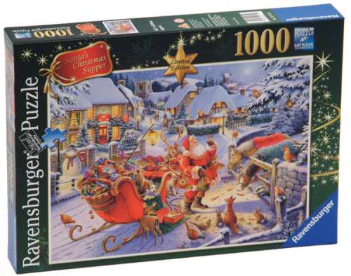 santas christmas supper limited edition rb19171 a 1000 piece jigsaw puzzle - Ravensburger Christmas Puzzles