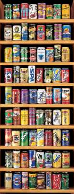 Soft Drink Cans (Panoramic) (EDU11053), a 2000 piece jigsaw puzzle by Educa. Click to view larger image.