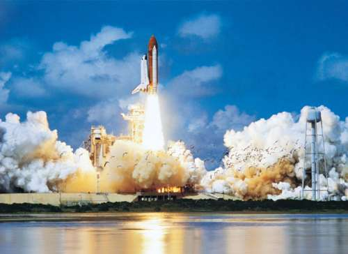 Space Shuttle Lift Off (EUR64608), a 1000 piece jigsaw puzzle by Eurographics. Click to view larger image.