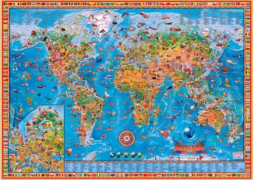 Amazing World Map (HEY29386), a 3000 piece jigsaw puzzle by HEYE. Click to view larger image.
