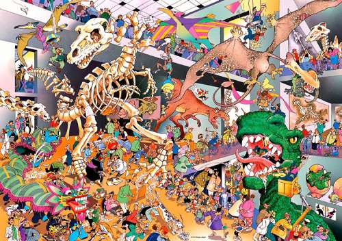 Dinos (HEY29409), a 1000 piece jigsaw puzzle by HEYE. Click to view larger image.