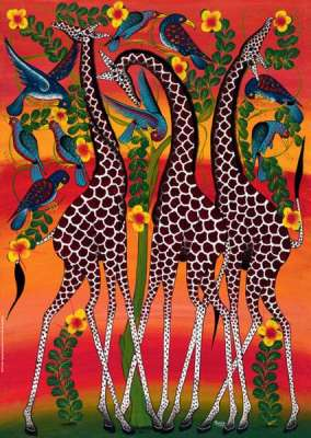 Giraffes (Tinga Tinga) (HEY29426), a 1000 piece jigsaw puzzle by HEYE. Click to view larger image.