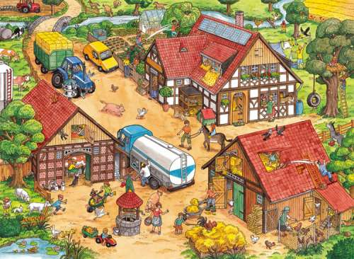 Busy Farm (RB10613-4), a 100 piece jigsaw puzzle by Ravensburger. Click to view larger image.