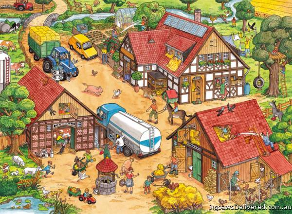 Busy Farm (RB10613-4), a 100 piece jigsaw puzzle by Ravensburger.