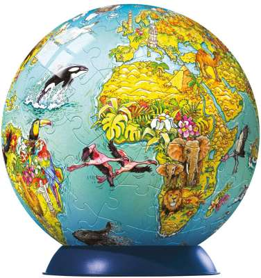 World Map for Children (Children's PuzzleBall) (RB12212-7), a 108 piece jigsaw puzzle by Ravensburger. Click to view larger image.