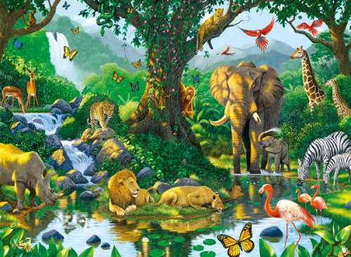 Harmony in the Jungle (RB14171-5), a 500 piece jigsaw puzzle by Ravensburger. Click to view larger image.