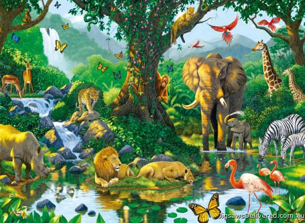 Harmony in the Jungle (RB14171-5), a 500 piece jigsaw puzzle by Ravensburger.