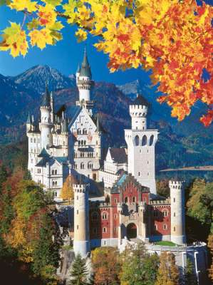 Neuschwanstein Castle in Autumn (RB16386-1), a 1500 piece jigsaw puzzle by Ravensburger. Click to view larger image.