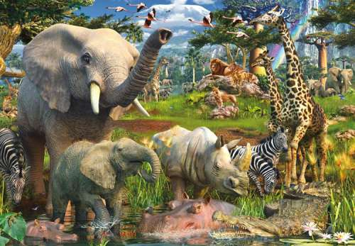 At the Waterhole (18000pc) (RB17823-0), a 18000 piece jigsaw puzzle by Ravensburger. Click to view larger image.