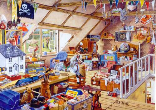 Grandma's Attic (RB19272-4), a 1000 piece jigsaw puzzle by Ravensburger. Click to view larger image.