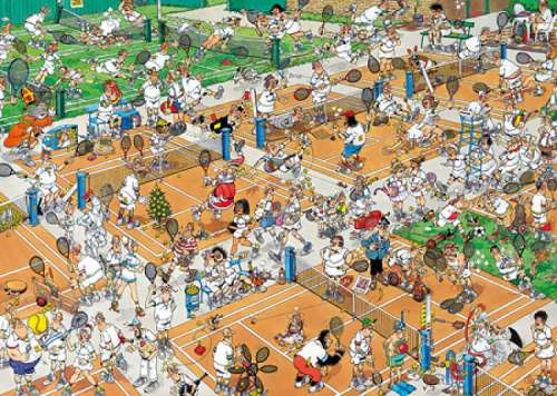 The Tennis Court (1000pc) (JUM17076), a 1000 piece jigsaw puzzle by Jumbo. Click to view larger image.